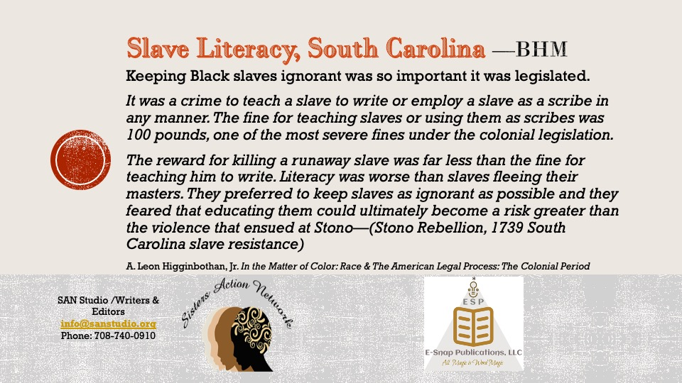 Slave Literacy South Carolina